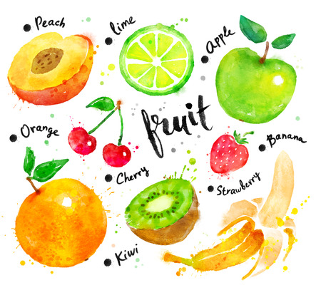 lime: Hand painted watercolor colorful set of fruit with lettering. Stock Photo