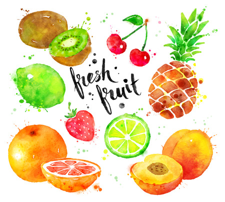 Hand painted watercolor colorful set of fruit with lettering. Foto de archivo