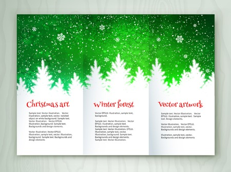 snow forest: Christmas white and green leaflet design template with winter spruce forest landscape and falling snow.