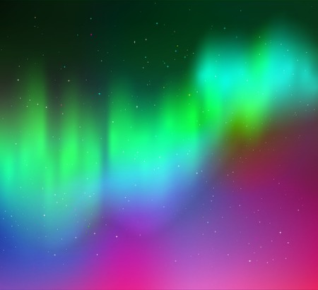 Vector illustration of northern lights background in green, cyan and magenta colors. Illustration