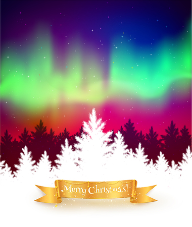 northern lights: Winter landscape background with northern lights, white spruce forest silhouette and gold festive ribbon banner.