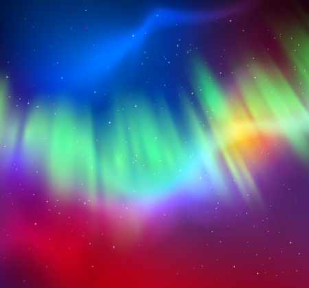 Vector illustration of northern lights background in green, cyan and magenta colors. Vectores
