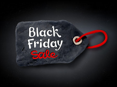 plasticine: Vector illustration with Black Friday lettering and hand made plasticine tag banner on black background.