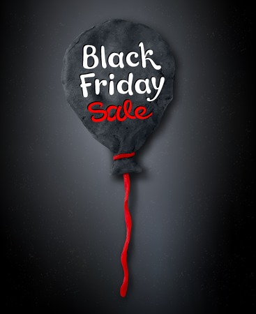 Vector illustration with Black Friday lettering and hand made plasticine balloon on dark background.