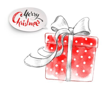 hand pencil: Hand drawn pencil and watercolor illustration of Christmas gift-box. Stock Photo