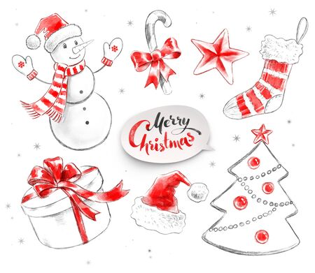 christmas objects: Hand drawn pencil and watercolor illustrations collection of Christmas objects.