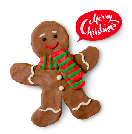 clay modeling: Hand made plasticine illustration of gingerbread man cookie with lettering banner. Stock Photo