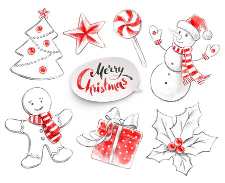 Hand drawn pencil and watercolor illustrations collection of Christmas objects.