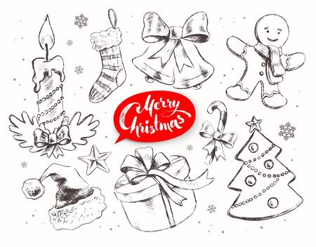 christmas objects: Christmas vintage line art vector set with festive objects and lettering banner.