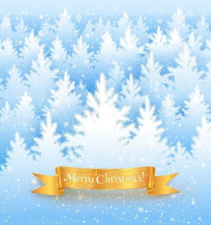 coniferous forest: Fondo del paisaje de la Navidad con nieve que cae, la silueta de los bosques de abeto blanco y rojo bandera de oro con guirnalda.