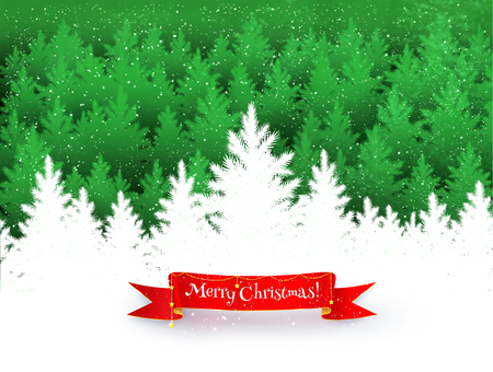 pine trees: Christmas landscape background with falling snow, spruce forest silhouette and red ribbon banner with garland.