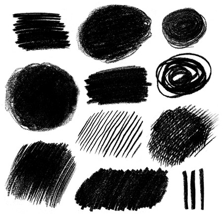 scrawl: Collection of black and white pencil hatching grunge textures.