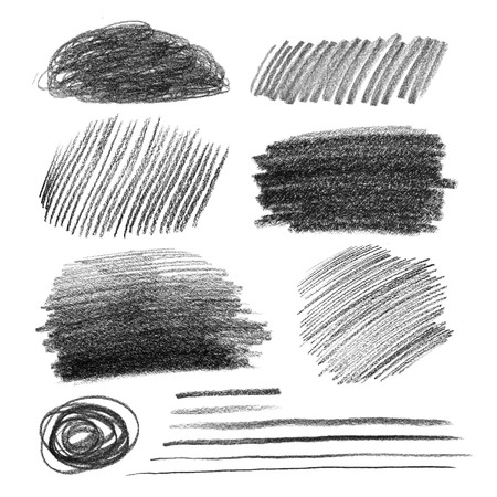 graphite: Collection of graphite pencil hatching grunge textures.