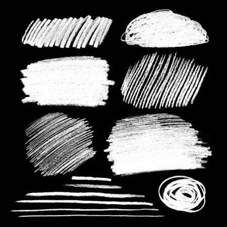 garabatos: Colección de texturas grunge con tiza para incubar sobre fondo negro. Foto de archivo
