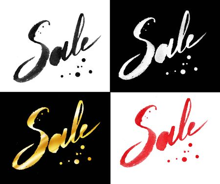 advertisement: Collection of Sale word lettering with paint splashes in gold, white, red and black colors. Stock Photo