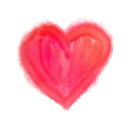 Wet watercolor painting of red Valentine heart with paint smudges.