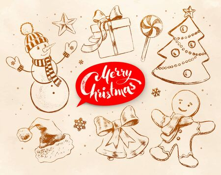 objects paper: Christmas vintage line art vector set with festive objects and red lettering banner on obsolete paper background.