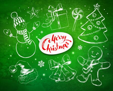 green grunge background: Christmas vintage line art vector set with festive objects and white lettering banner on green grunge background with sparkles.