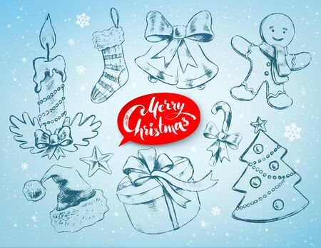 christmas objects: Christmas hand drawn line art vector set with festive objects and red lettering banner on soft blue winter background.