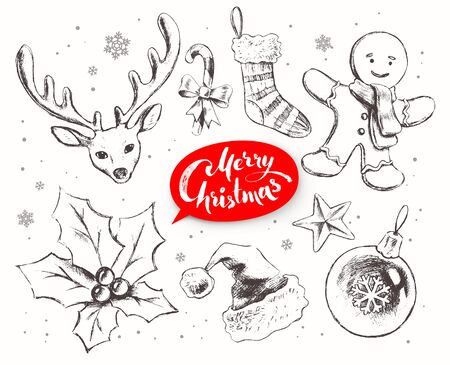 christmas objects: Christmas line art vector set with festive objects and lettering banner on white background.