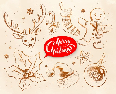 christmas cookie: Christmas vintage line art vector set with festive objects and lettering banner on grunge old paper background.