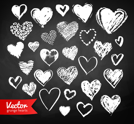 Chalk drawn collection of Valentine hearts Vectores
