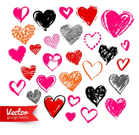 heart in hand: Collection of grunge Valentine hearts