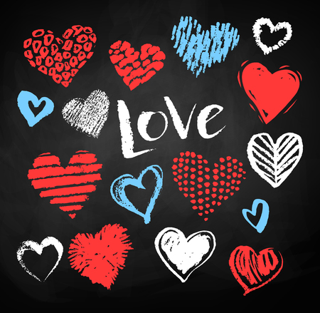 collection red: Vector color, red, blue and white chalk drawn collection of grunge Valentine hearts on blackboard background with Love word lettering.