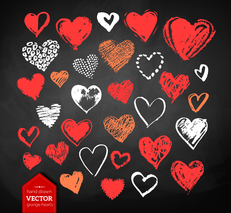 rough: Vector color, red, orange and white chalk drawn collection of grunge Valentine hearts on blackboard background.