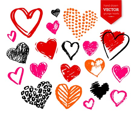 Vector hand drawn collection of grunge Valentine hearts on white background.