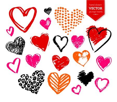 Vector hand getekende verzameling van grunge Valentijn harten op een witte achtergrond. Stockfoto
