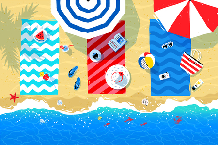 water waves: Beach mats and accessories on sand
