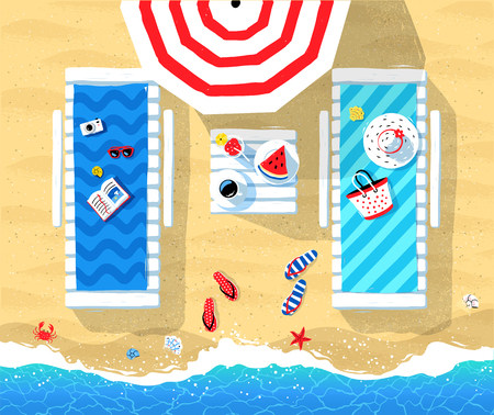 Summer vector illustration of sun beds