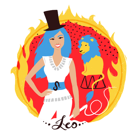 Vector illustration of Leo zodiac sign. Illustration