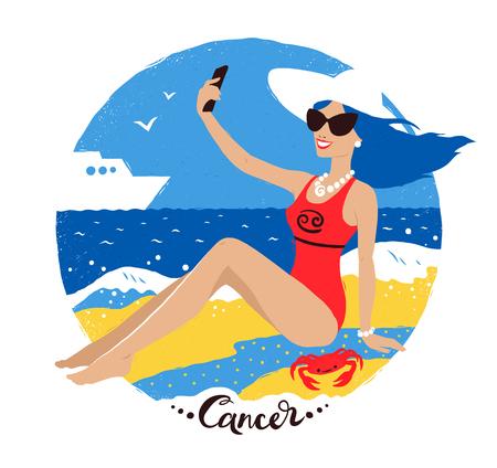 Vector illustration of Cancer zodiac sign.