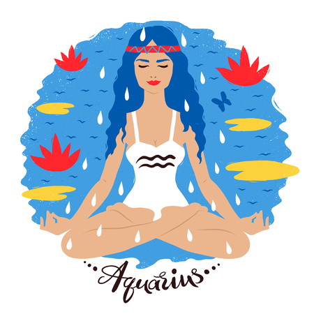 Vector illustration of Aquarius zodiac sign