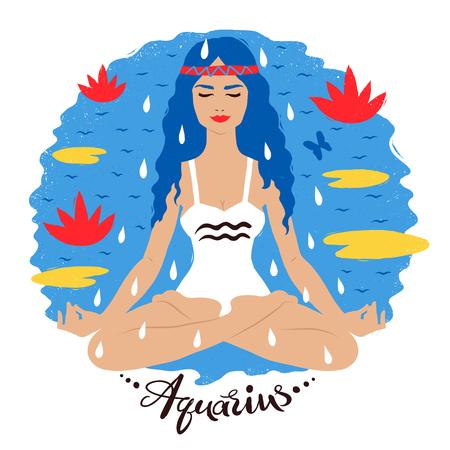 Vector illustration of Aquarius zodiac sign