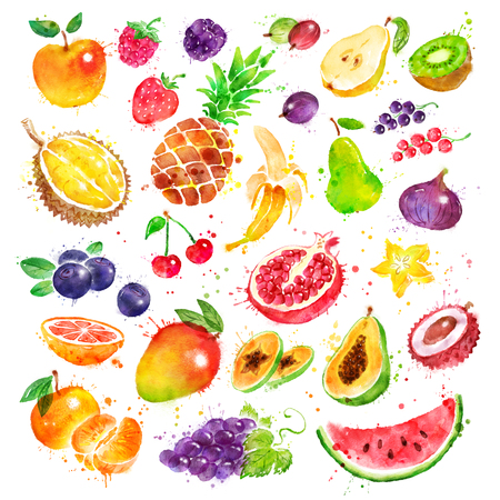 Hand drawn watercolor set of fruit