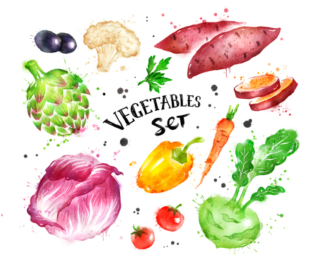 Watercolor colorful set of vegetables Stock Photo