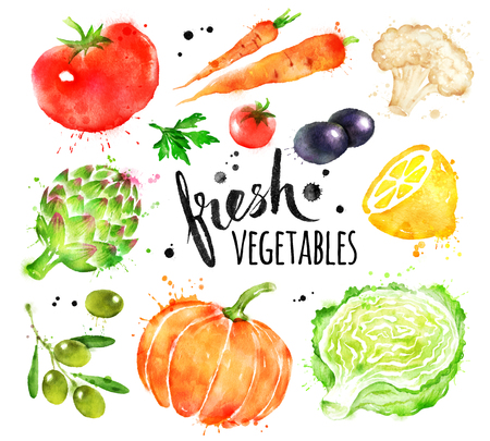 Watercolor set of fresh vegetables Stock Photo