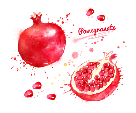 Watercolor illustration of pomegranate, whole and sliced with seeds and paint smudges and splashes.