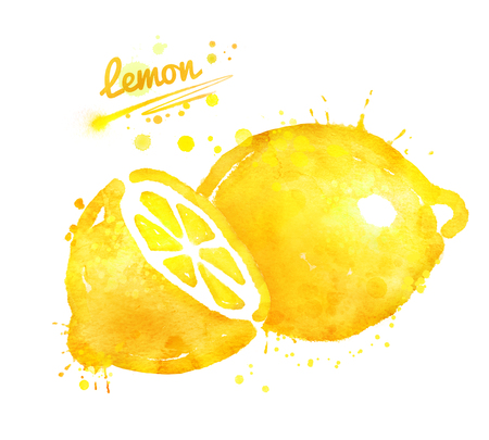 Hand drawn watercolor illustration of lemon