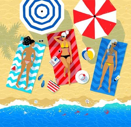 maillot de bain: Illustration vue de dessus de trois jeunes femmes allongées sur la plage Illustration