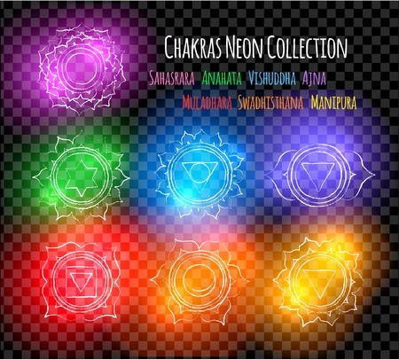 Line art chakra symbols with neon glow
