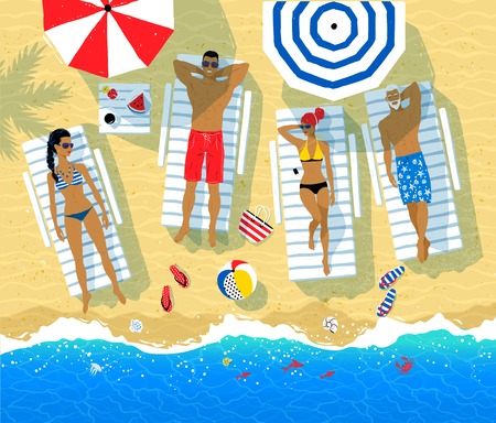 Vector illustration of people resting on sun beds Illustration