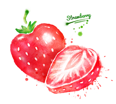 Watercolor illustrations of strawberry