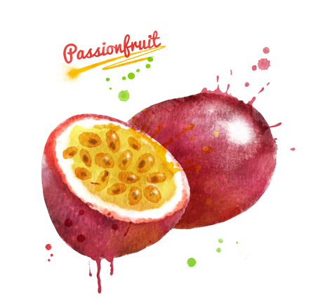 Watercolor illustration of passionfruit whole and half with paint smudges and splashes.
