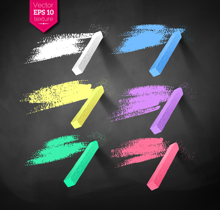 Hand drawn strokes and pieces of colored chalks Stock Illustratie