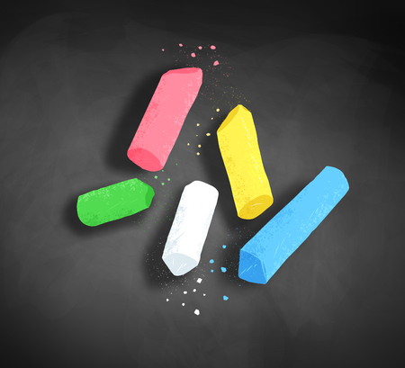 Pieces of chalk on blackboard background. Иллюстрация
