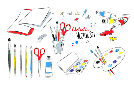 Vector set of artists supplies